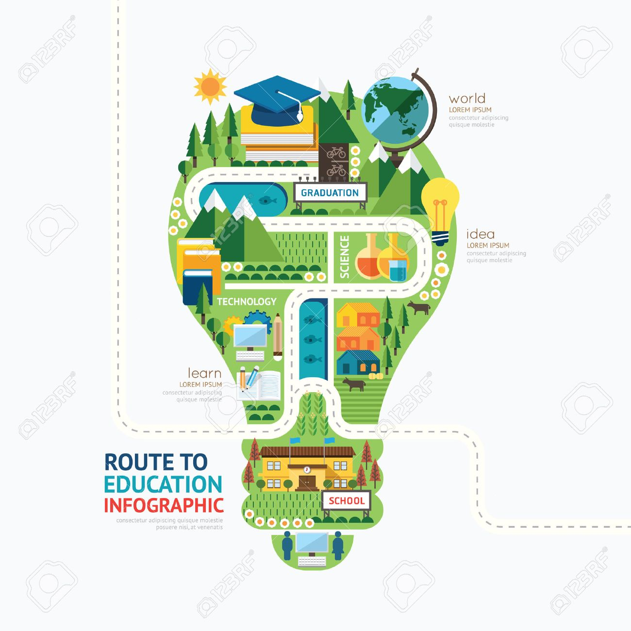 Infographic education light bulb shape template design.learn concept vector illustration / graphic or web design layout. Stock Vector - 37076425