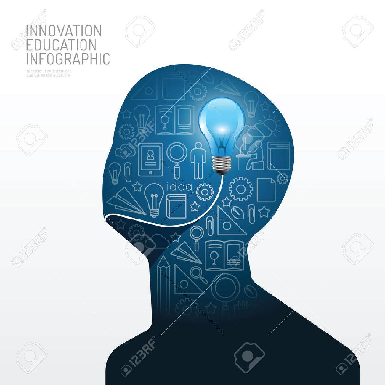 Infographic man with light bulb flat line idea. Vector illustration.education innovation concept.can be used for layout, banner and web design. - 37344452