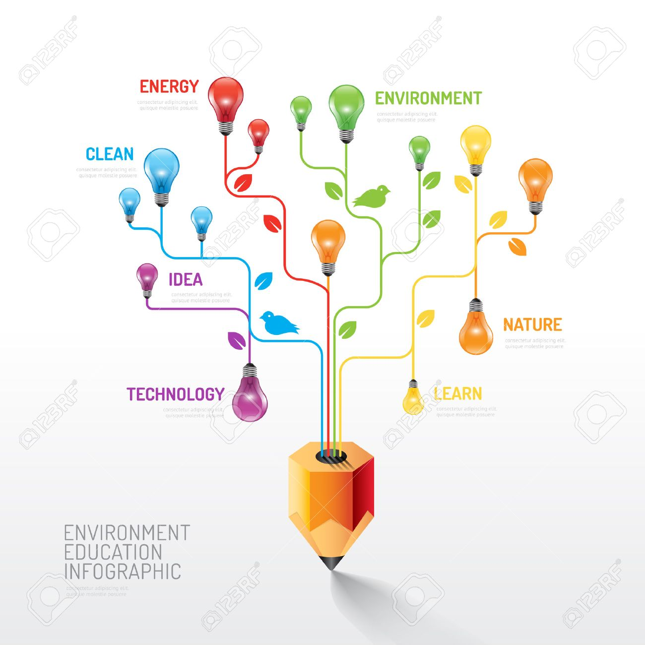 Infographic pencil with light bulb flat line idea. Vector illustration.education nature environment concept.can be used for layout, banner and web design. Standard-Bild - 37344102