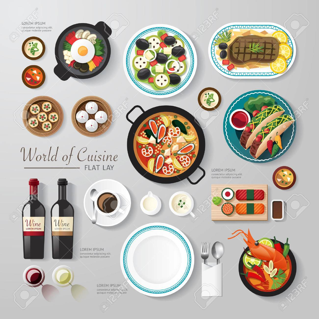 Infographic food business flat lay idea. Vector illustration hipster concept.can be used for layout, advertising and web design. - 37344521