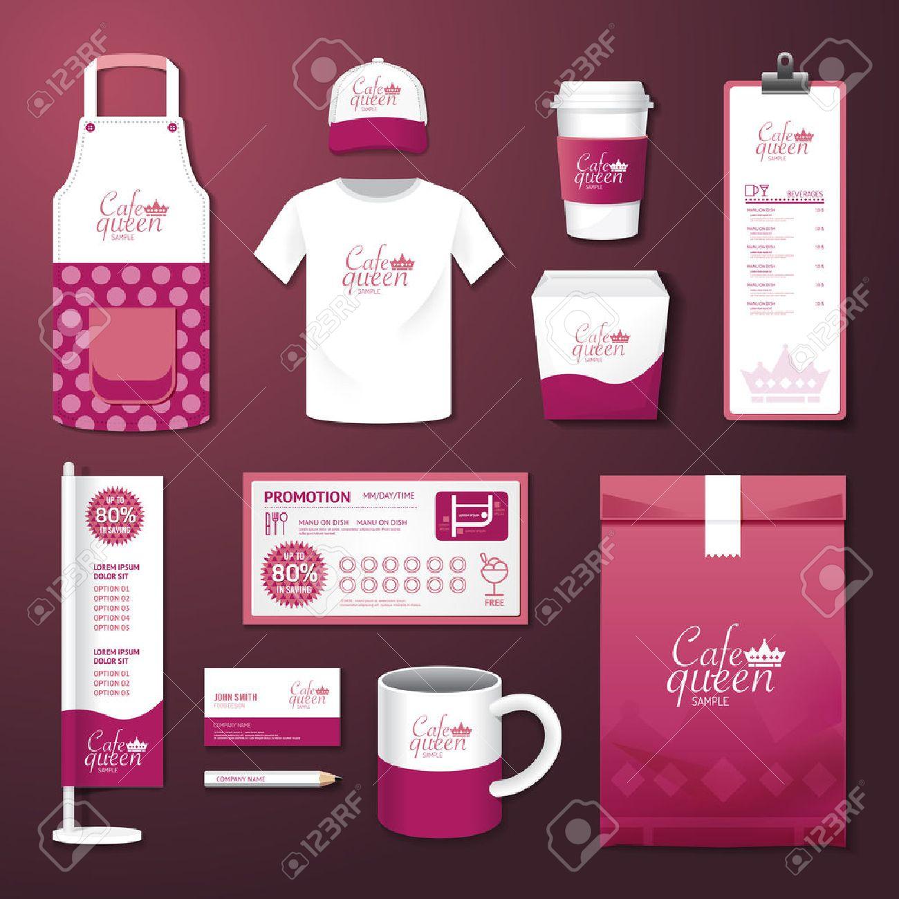 Vector restaurant cafe set flyer, menu, package, t-shirt, cap, uniform design/ layout set of corporate identity template. Standard-Bild - 37344924