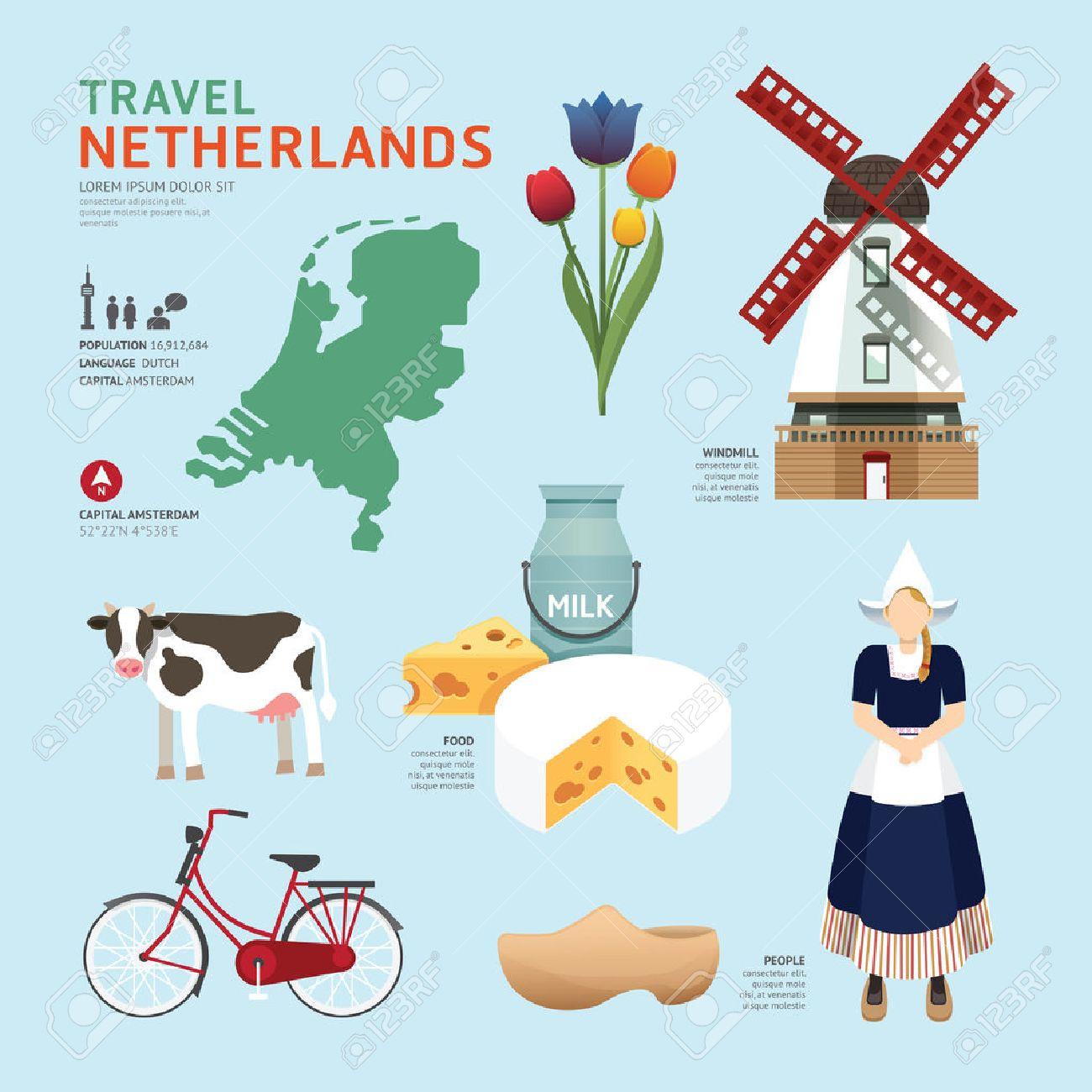 Netherland Flat Icons Design Travel Concept.Vector Standard-Bild - 37665097