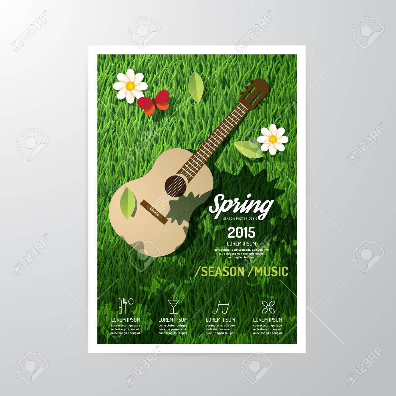 Vector brochure, flyer, magazine cover booklet poster design template.layout spring music season festival A4 size. Standard-Bild - 38153343