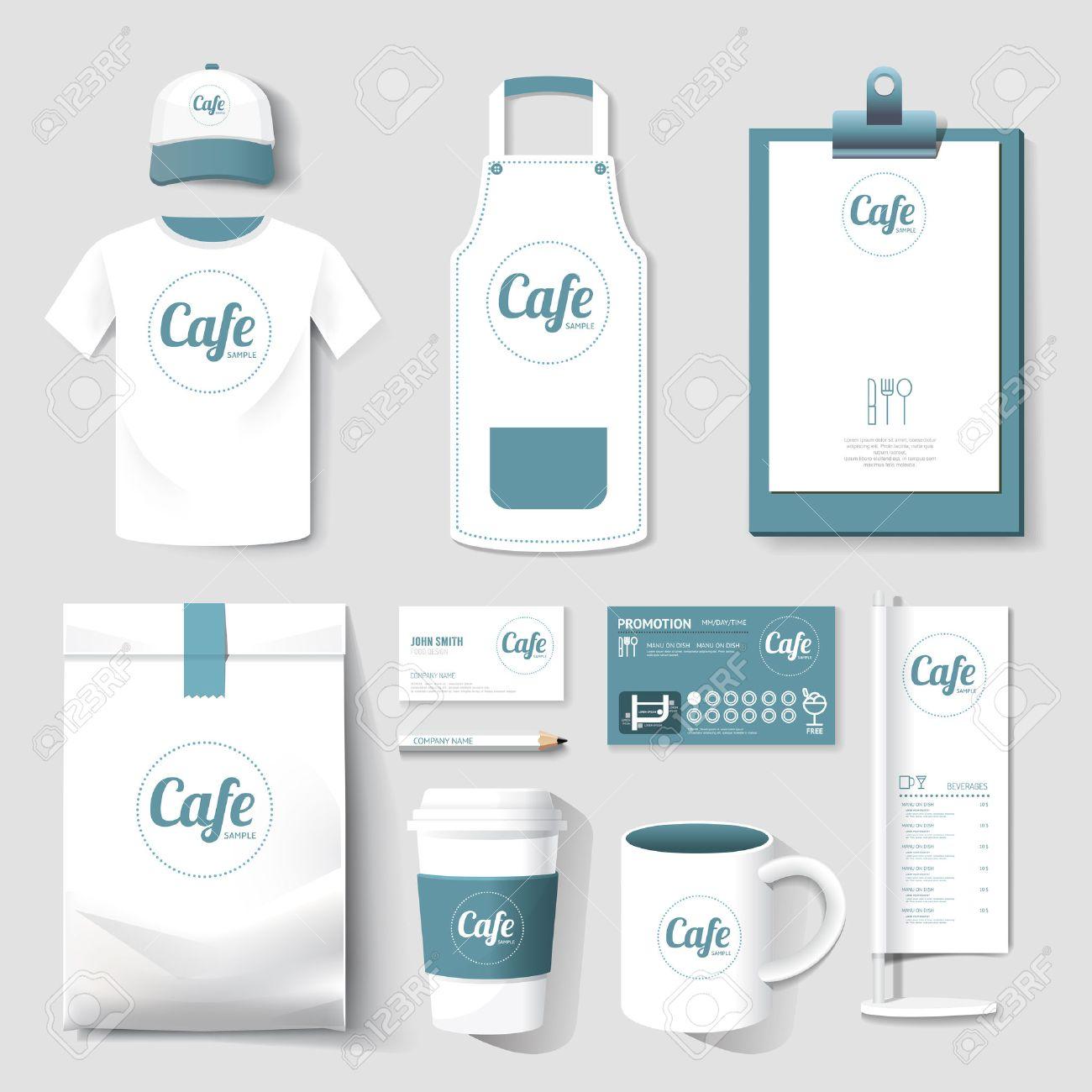 vector restaurant cafe set flyer menu package t shirt cap