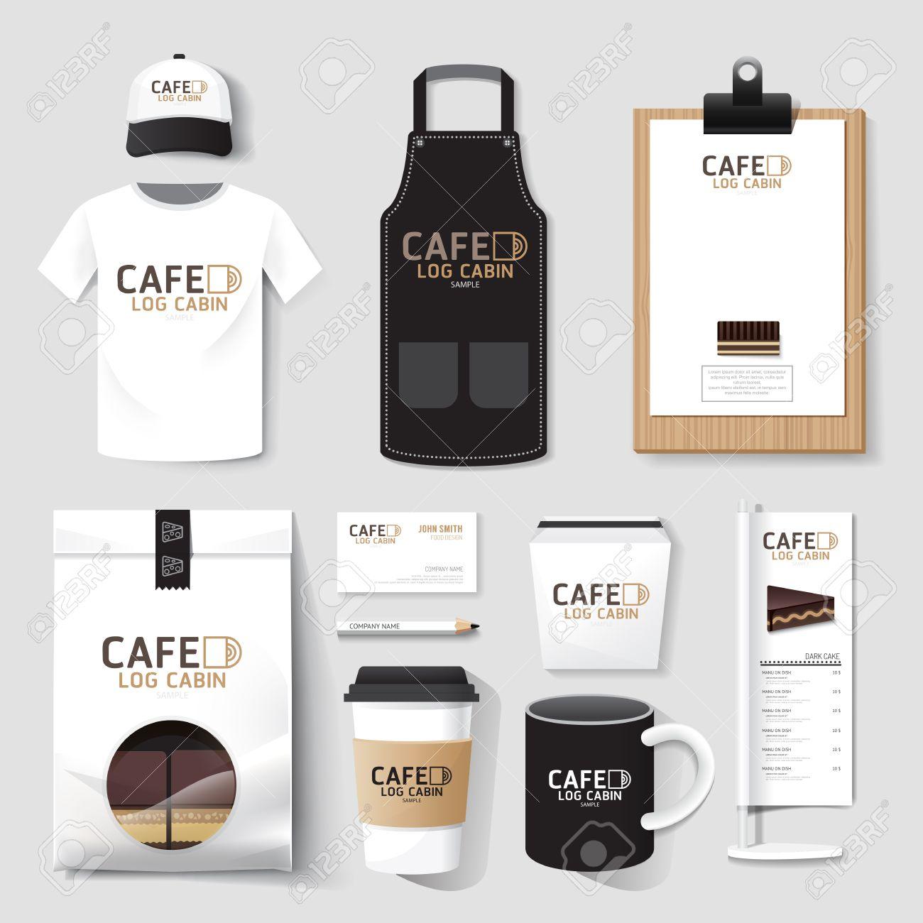 Vector restaurant cafe set flyer, menu, package, t-shirt, cap, uniform design/ layout set of corporate identity template. Standard-Bild - 38620125