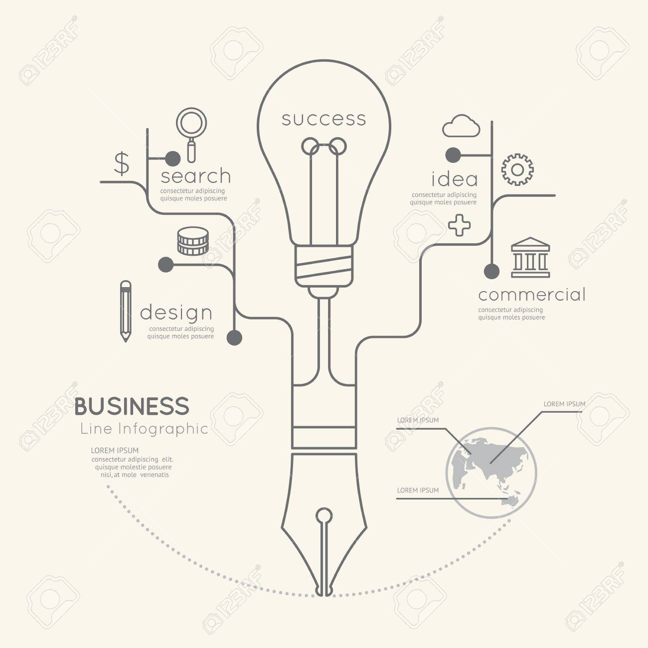 Flat Linear Infographic Business Education Pen Tree With Light Bulb Schematic Outline Conceptvector Illustration