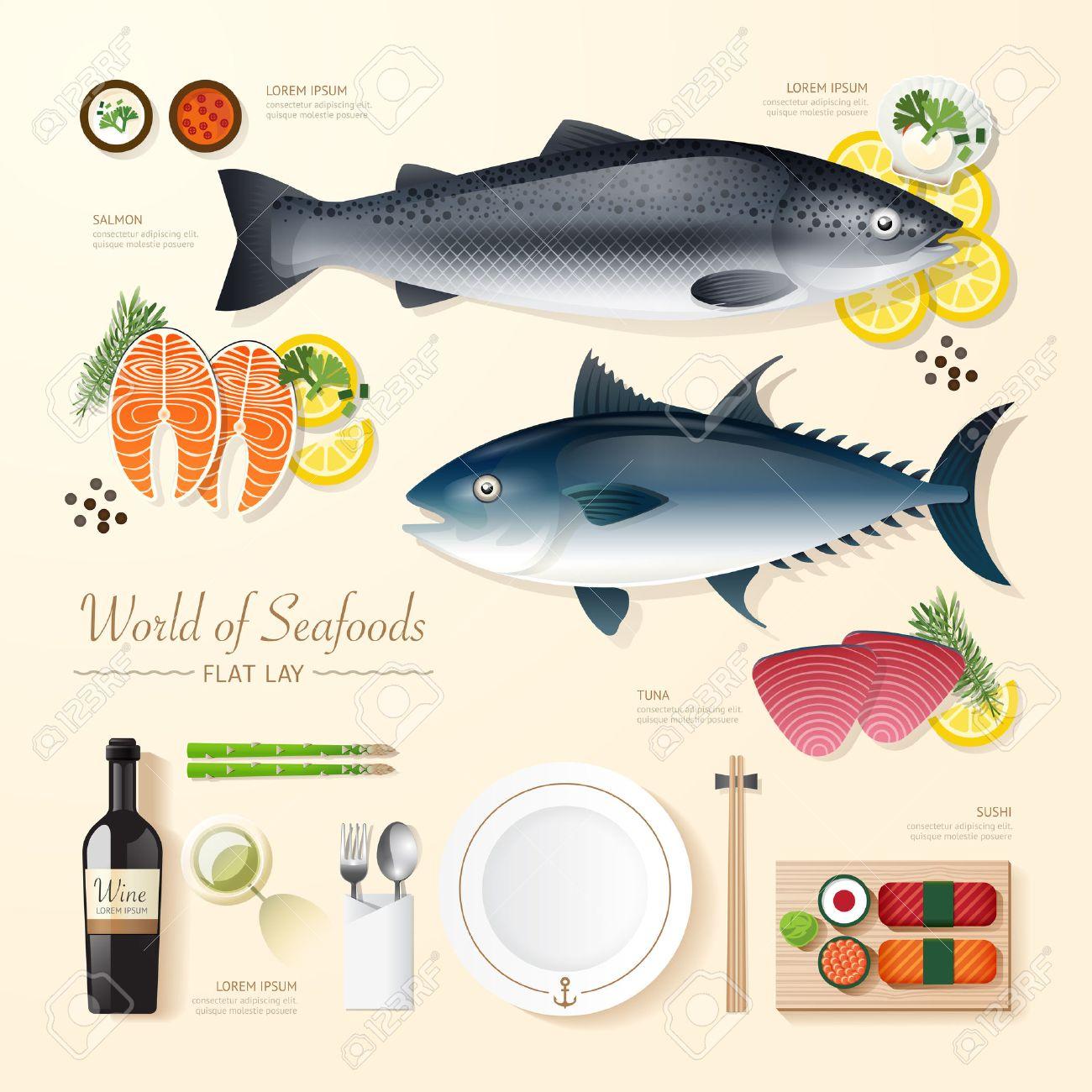 Vettoriale Cibo Infografica Affari Di Frutti Di Mare Piatto Idea