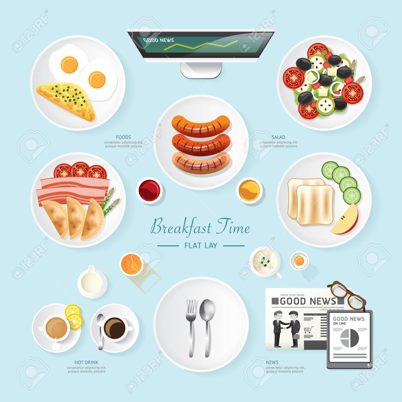 Infographic food business breakfast flat lay idea. salad,meal,toast,news Vector illustration . can be used for layout, advertising and web design. Standard-Bild - 38629038