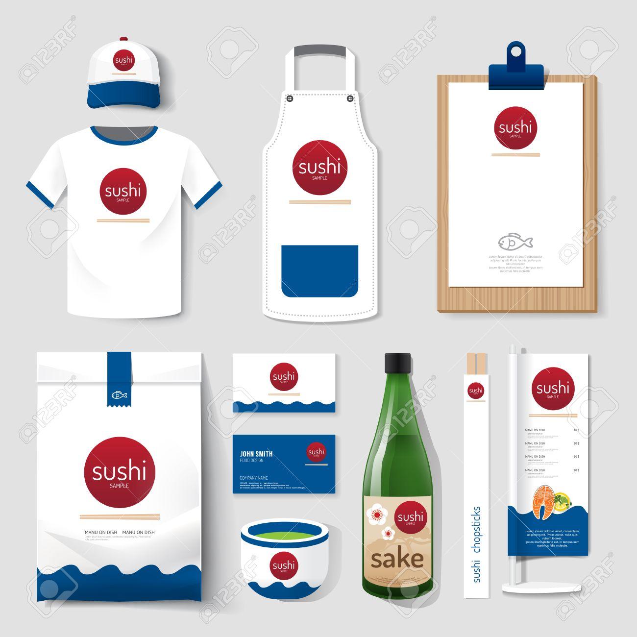 Shirt uniform design vector - Vector Vector Restaurant Cafe Set Flyer Menu Package T Shirt Cap Uniform Design Layout Set Of Japan Food Corporate Identity Template