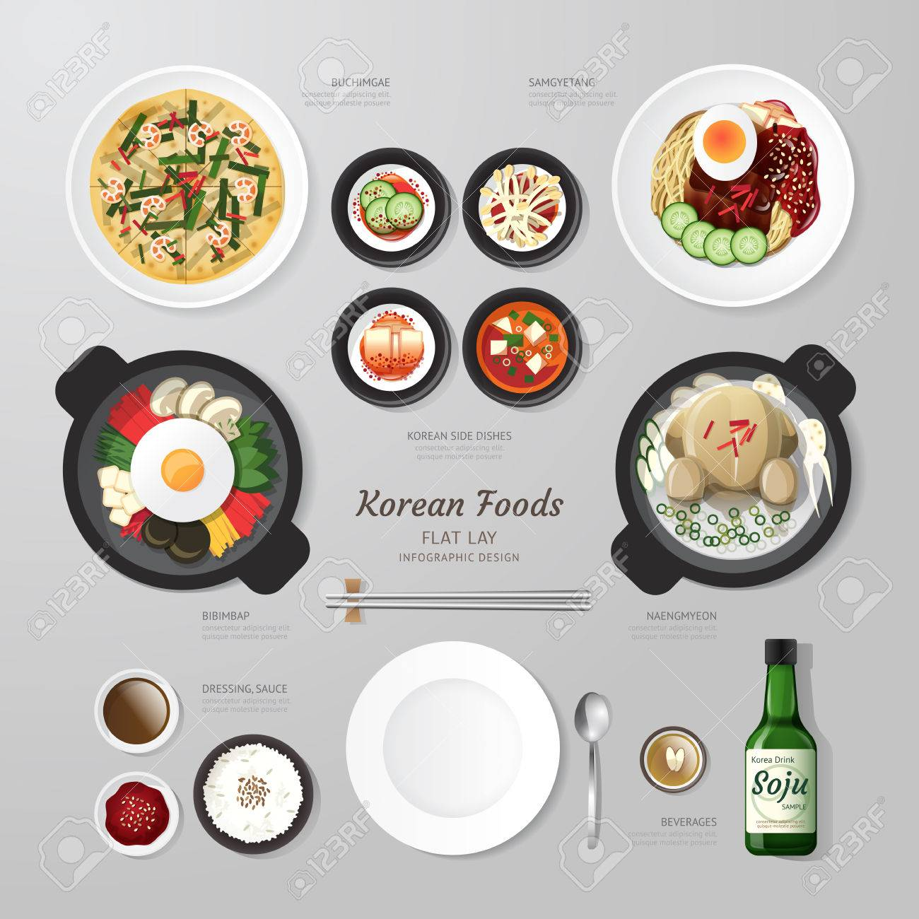 Infographic Korea foods business flat lay idea. Vector illustration hipster concept.can be used for layout, advertising and web design. Standard-Bild - 39264941