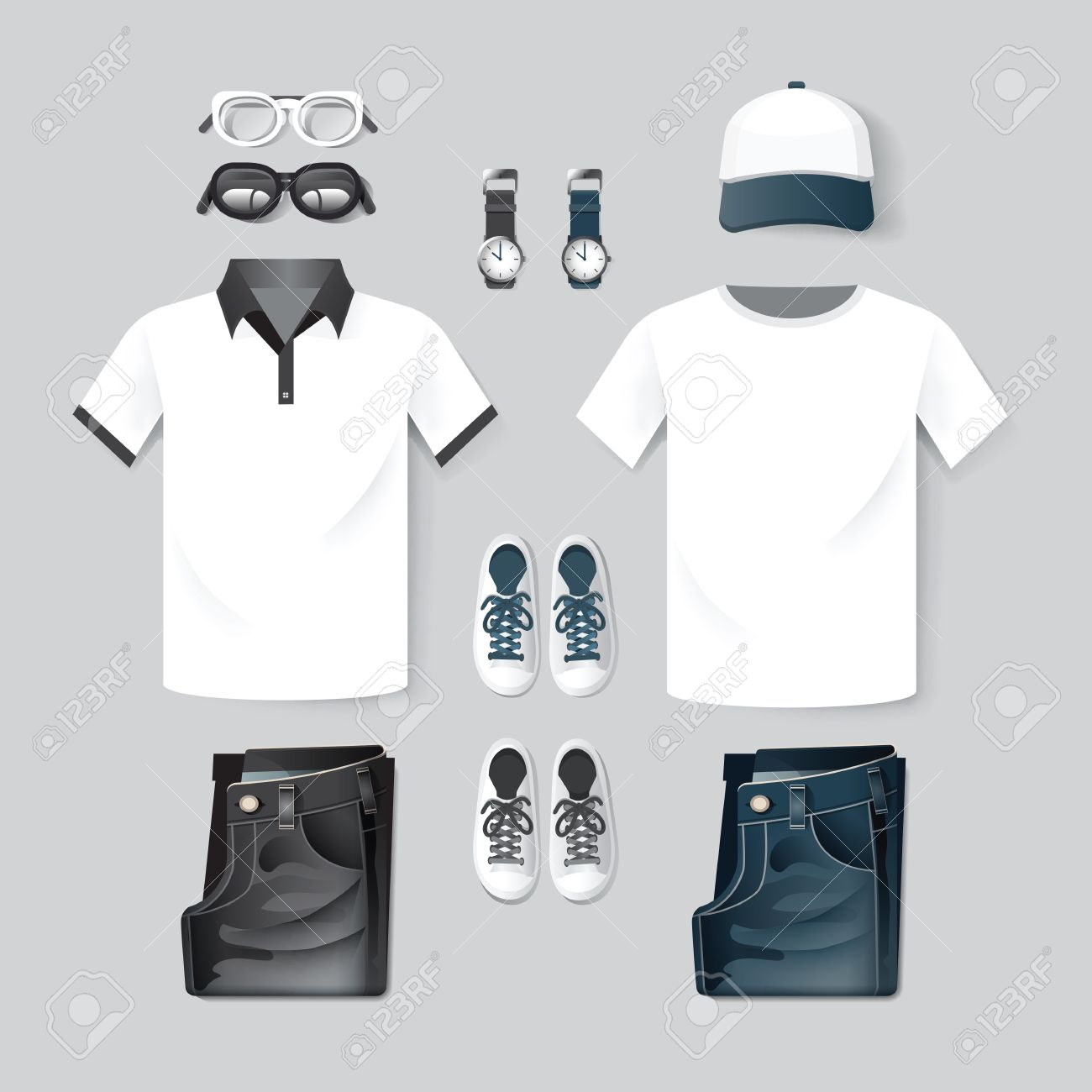 Vector Fashion Clothing Cap T Shirt Jeantwo Tone Hipster