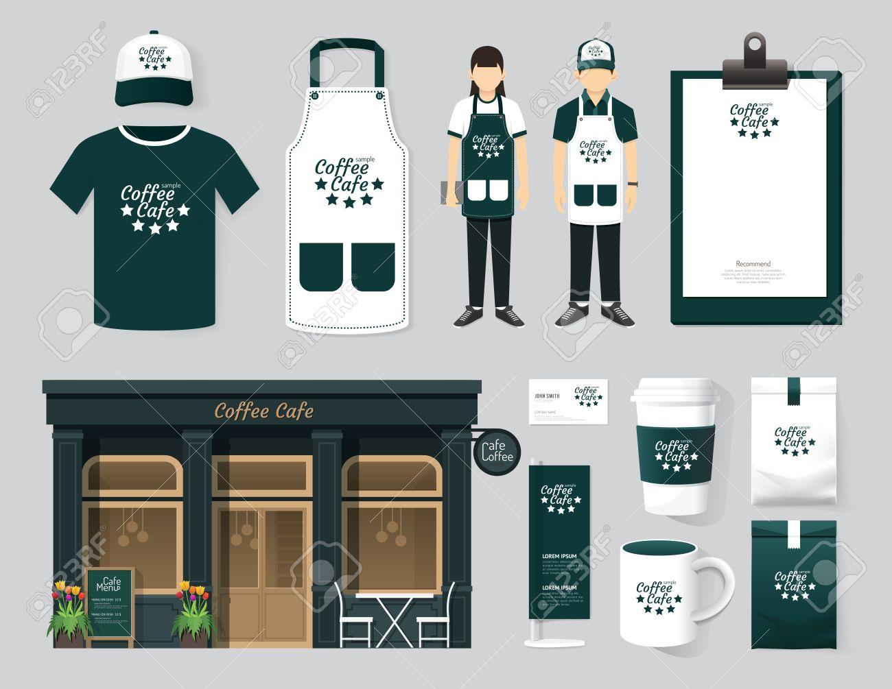 Shirt uniform design vector - Stock Photo Vector Restaurant Cafe Set Shop Front Design Flyer Menu Package T Shirt Cap Uniform And Display Design Layout Set Of Corporate Identity