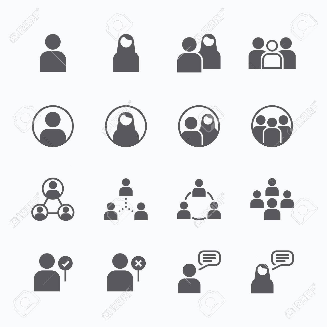 people Icon vector flat line icons set concept. Standard-Bild - 39813055