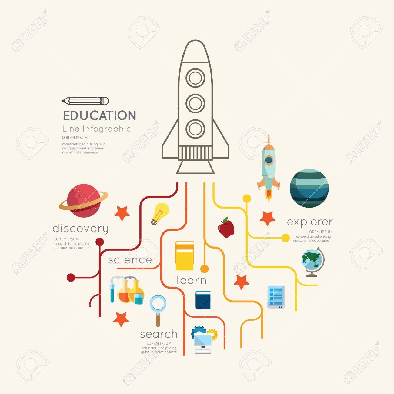 Flat line Infographic Education rocket Outline concept.Vector Illustration. Standard-Bild - 39813062