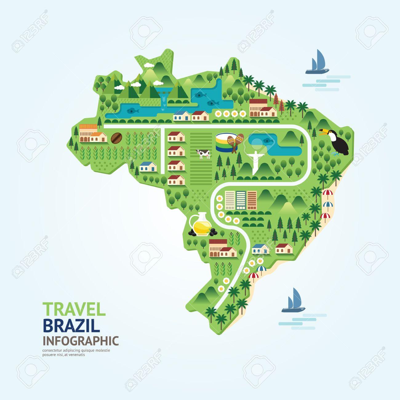 Infographic Travel And Landmark Brazil Map Shape Template Design - Brazil map illustration