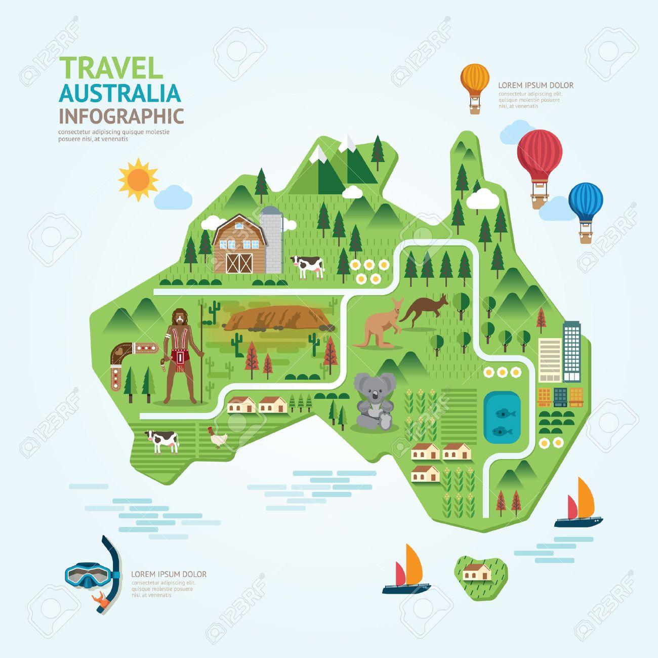Infographic Travel And Landmark Australia Map Shape Template – Travel Map of Australia