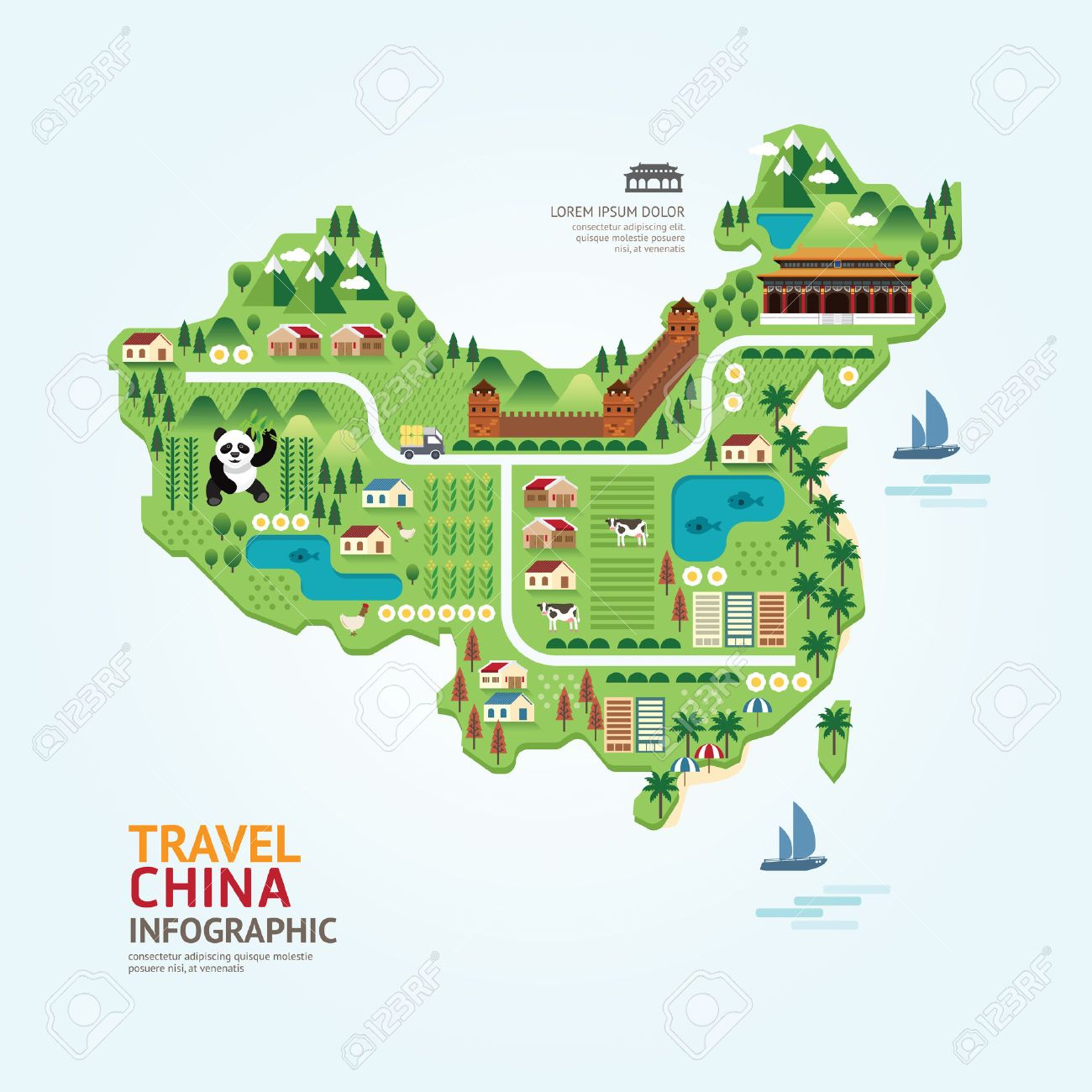 Infographic travel and landmark china map shape template design infographic travel and landmark china map shape template design country navigator concept vector illustration gumiabroncs Images