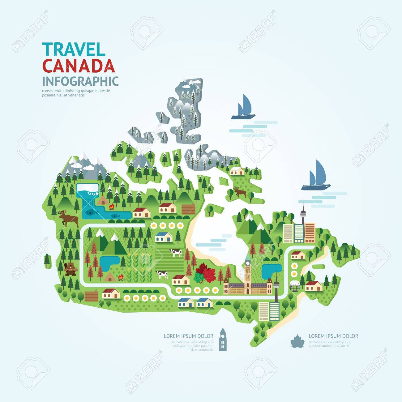 Travel Map Of Canada.Infographic Travel And Landmark Canada Map Shape Template Design