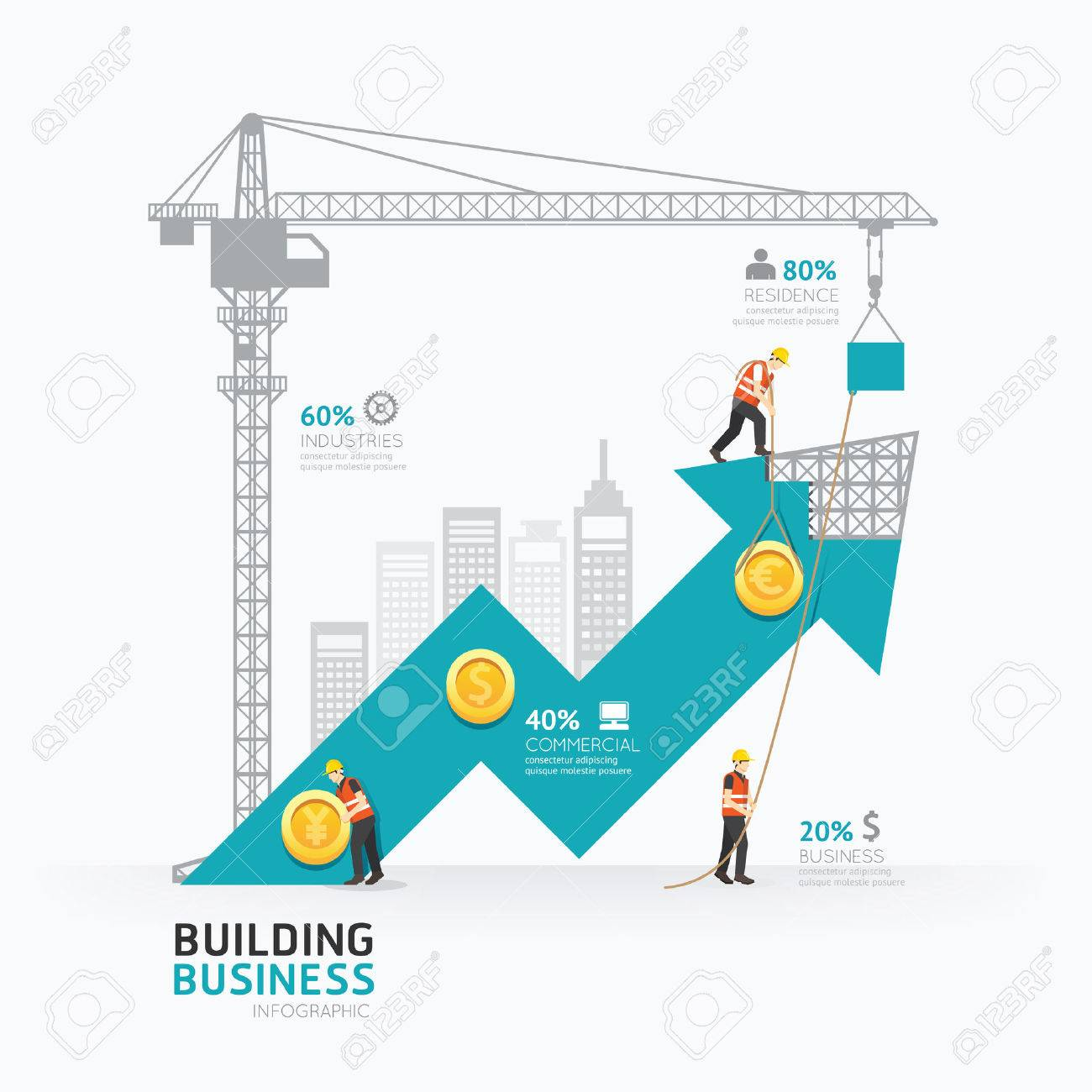 Infographic business arrow shape template design.building to success concept vector illustration / graphic or web design layout. Standard-Bild - 40686841