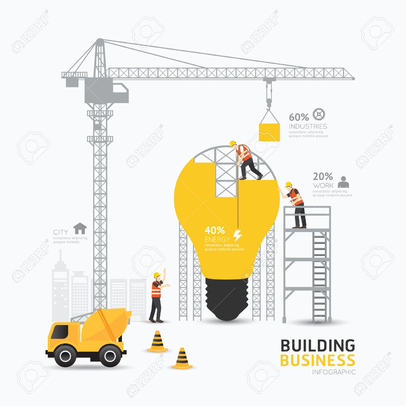Infographic business light bulb shape template design.building to energy concept vector illustration / graphic or web design layout. Standard-Bild - 40686844