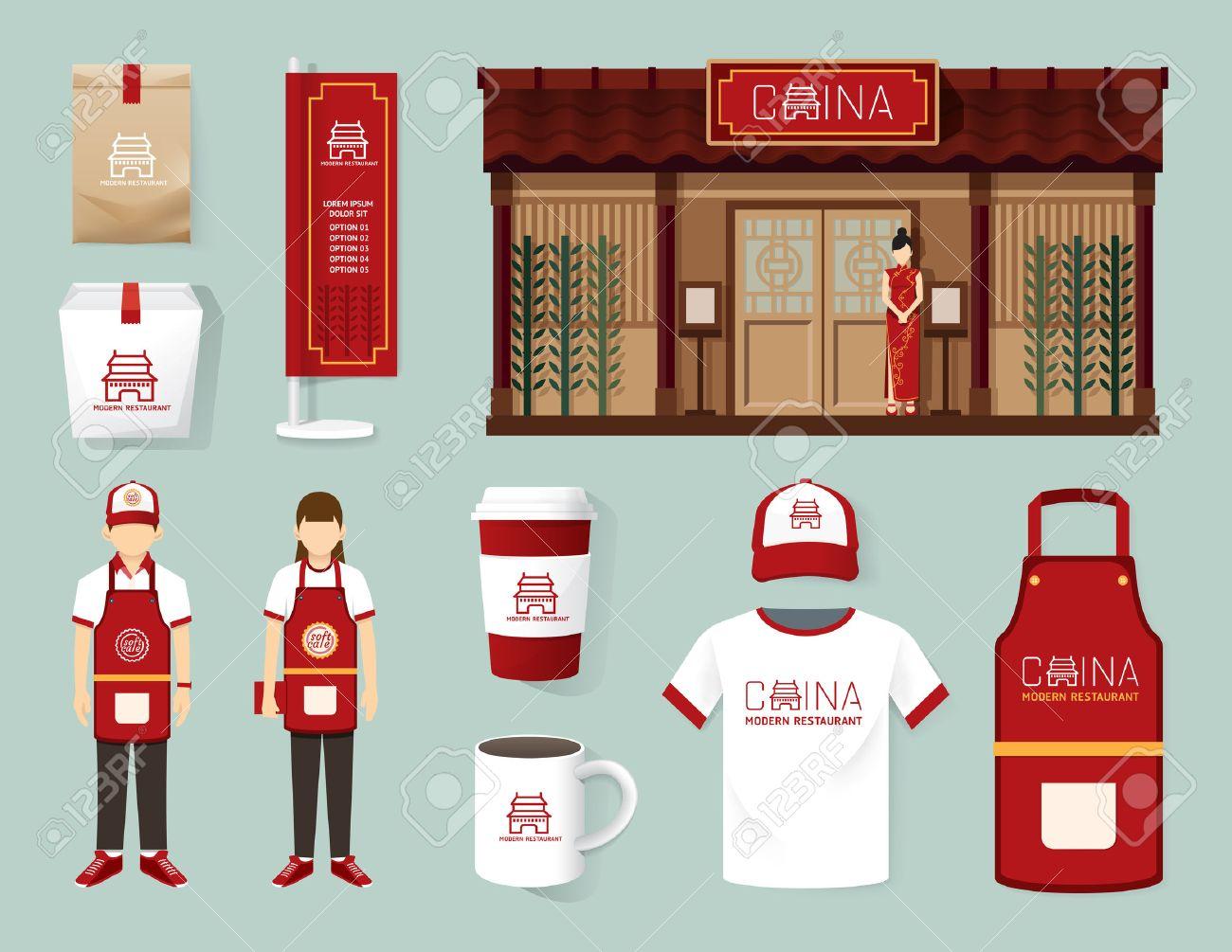 Vector China Modern Restaurant Cafe Set Shop Front Design Flyer