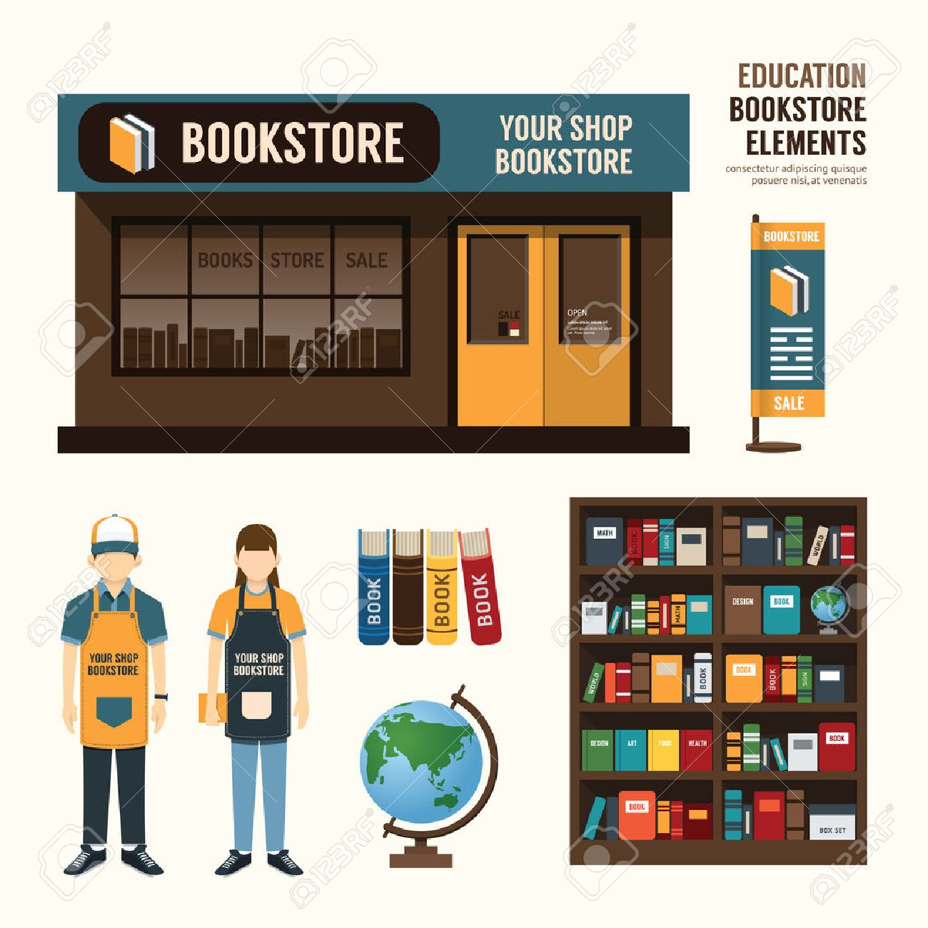 Vector Bookstore Set Design Shop Store Package Tshirt Cap Uniform