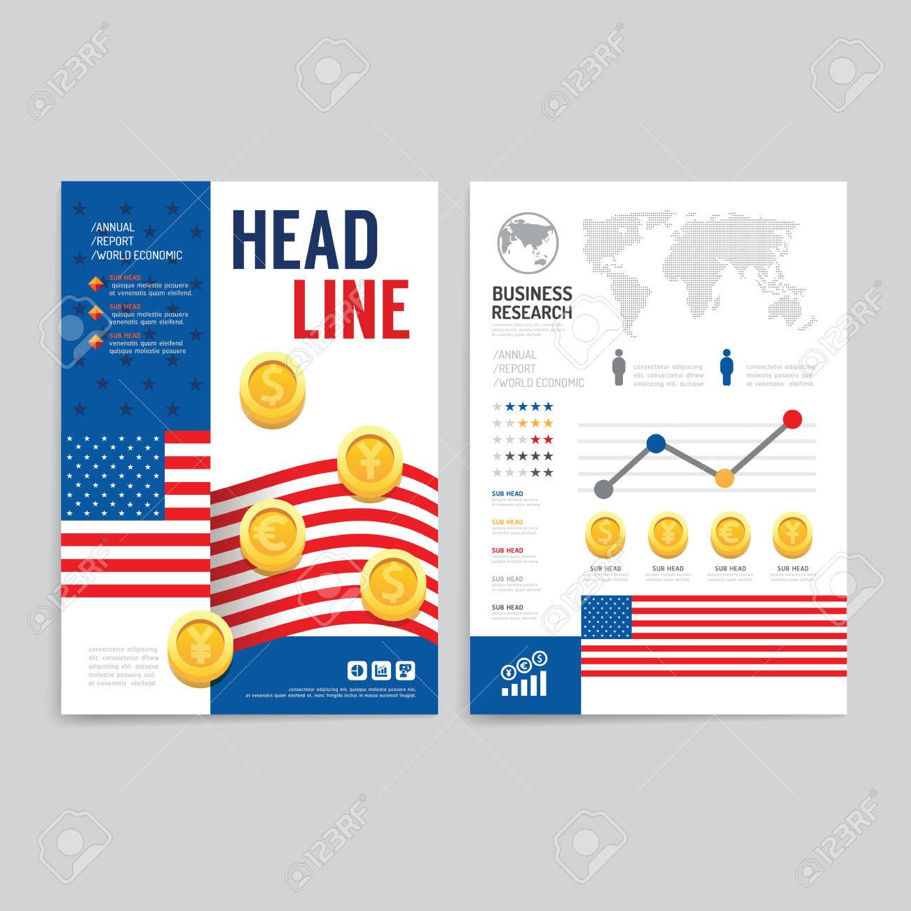 Poster design business - Vector Brochure Flyer Magazine Cover Booklet Poster Design Template Layout World Business Economic Annual Report