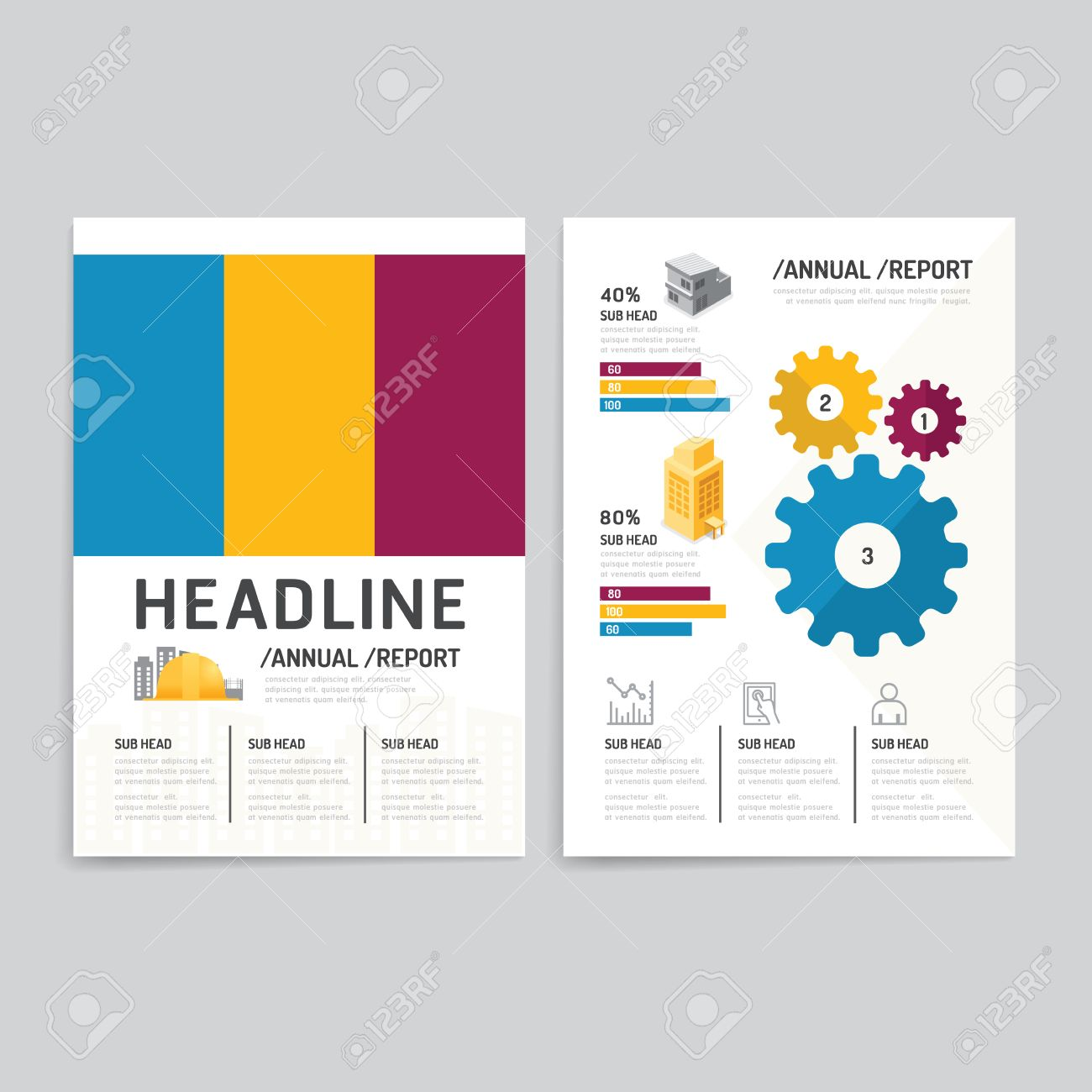 Poster design business - Vector Brochure Flyer Magazine Cover Booklet Poster Design Template Layout Building Business Annual Report Set