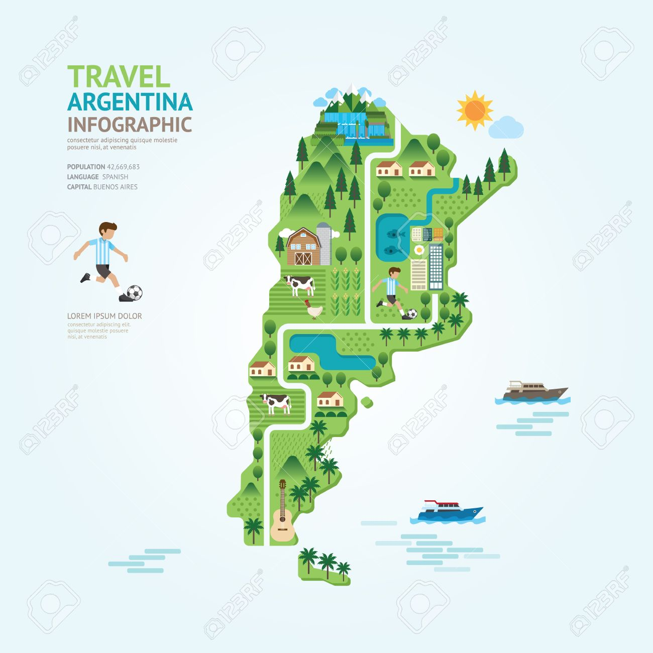 Infographic Travel And Landmark Argentina Map Shape Template - Argentina map of country
