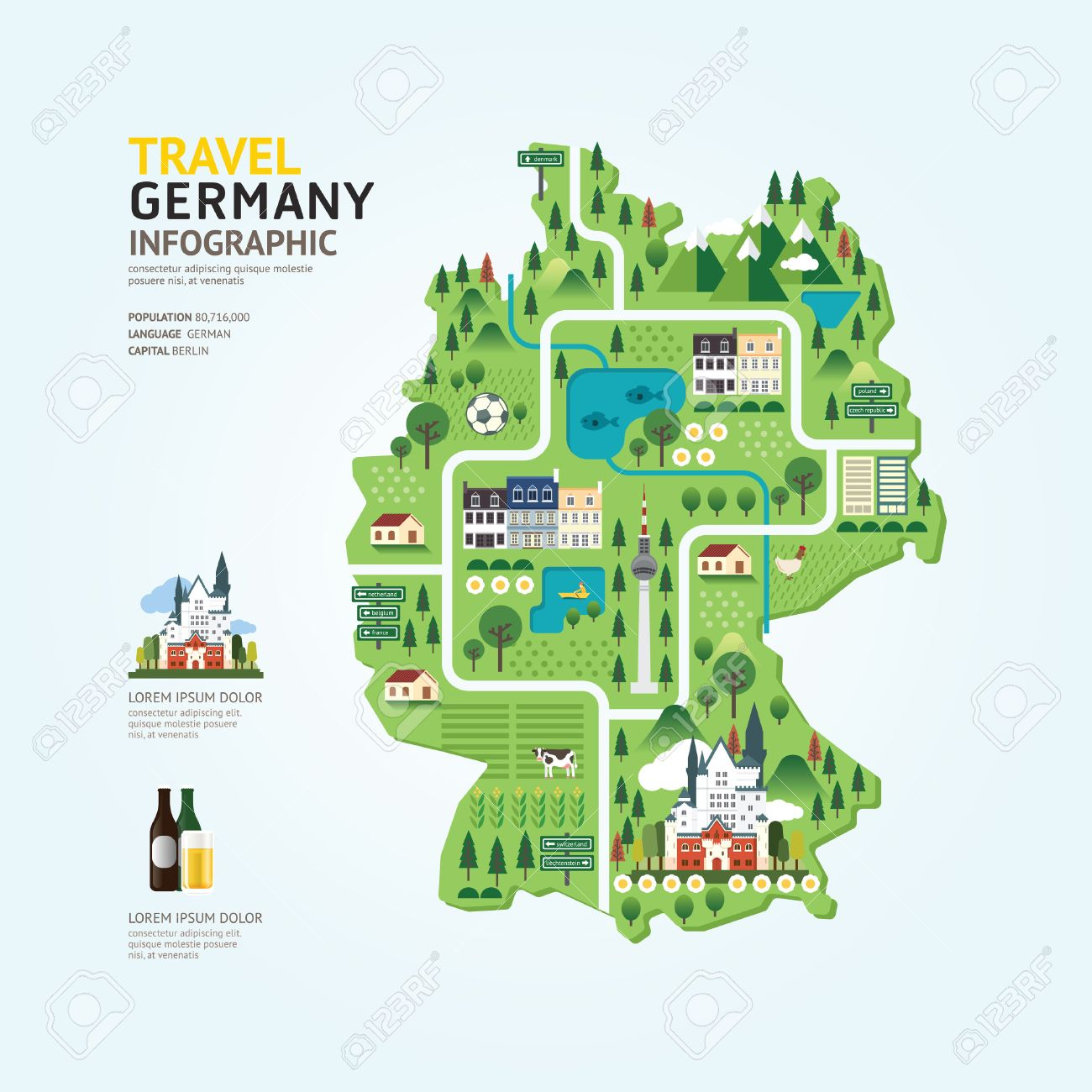 infographic travel and landmark germany map shape template design country navigator concept vector illustration graphic