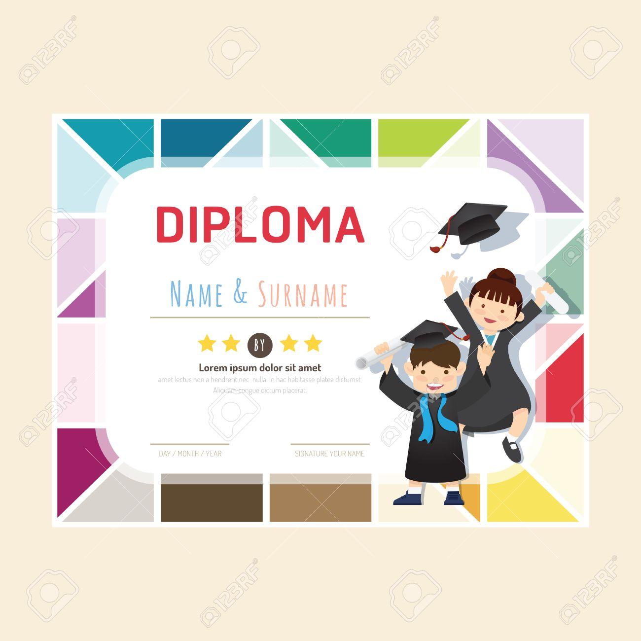 Diploma Niños De Certificados, Guardería Diseño De Plantilla De ...