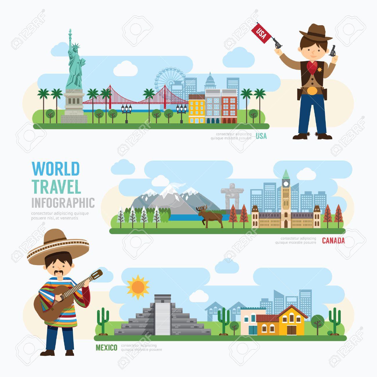 Travel and outdoor Landmark mexico, canada, usa Template Design Infographic. Concept Vector Illustration Standard-Bild - 42761457