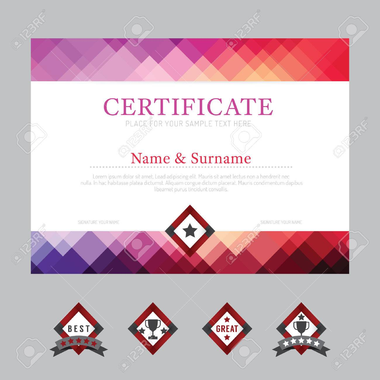 Certificate Template Layout Background Frame Design Vector Modern – Certificate Layout