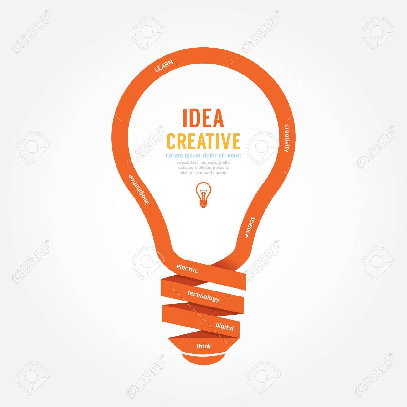 vector light bulb ribbon paper design creative line style. - 42761502
