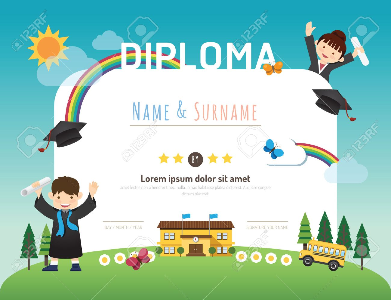 certificate kids diploma kindergarten template layout background frame design vector education preschool concept flat