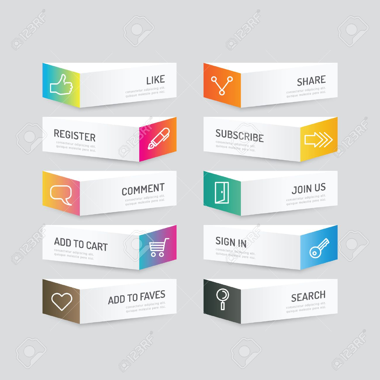 Modern banner button with social icon design options. Vector illustration. can be used for infographic workflow layout, banner, abstract, colour, graphic or website layout vector Standard-Bild - 42761517