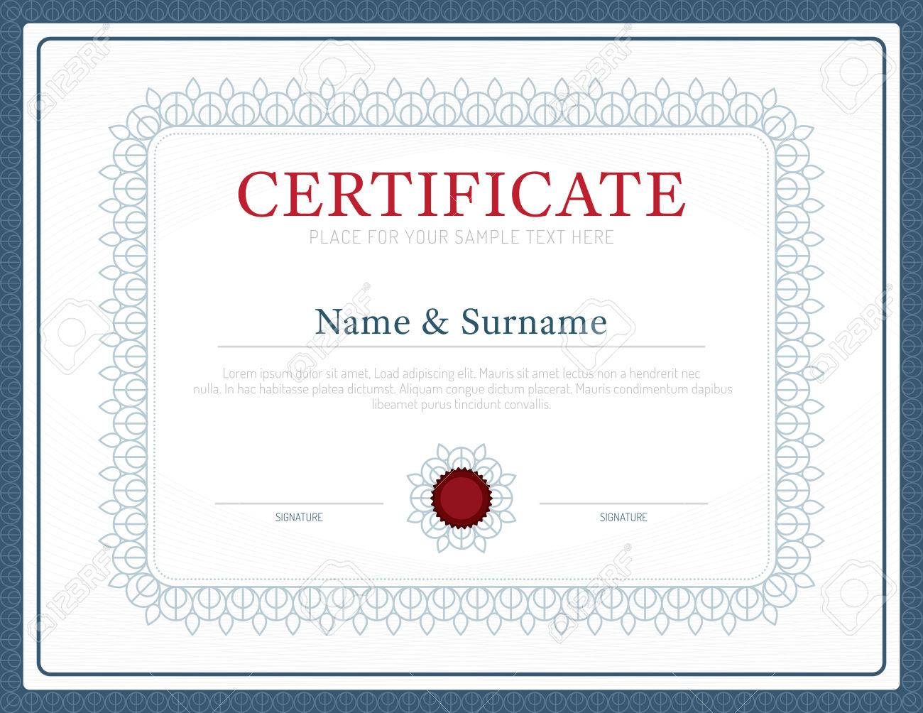Certificate Template Layout Background Frame Design Vector. Modern ...