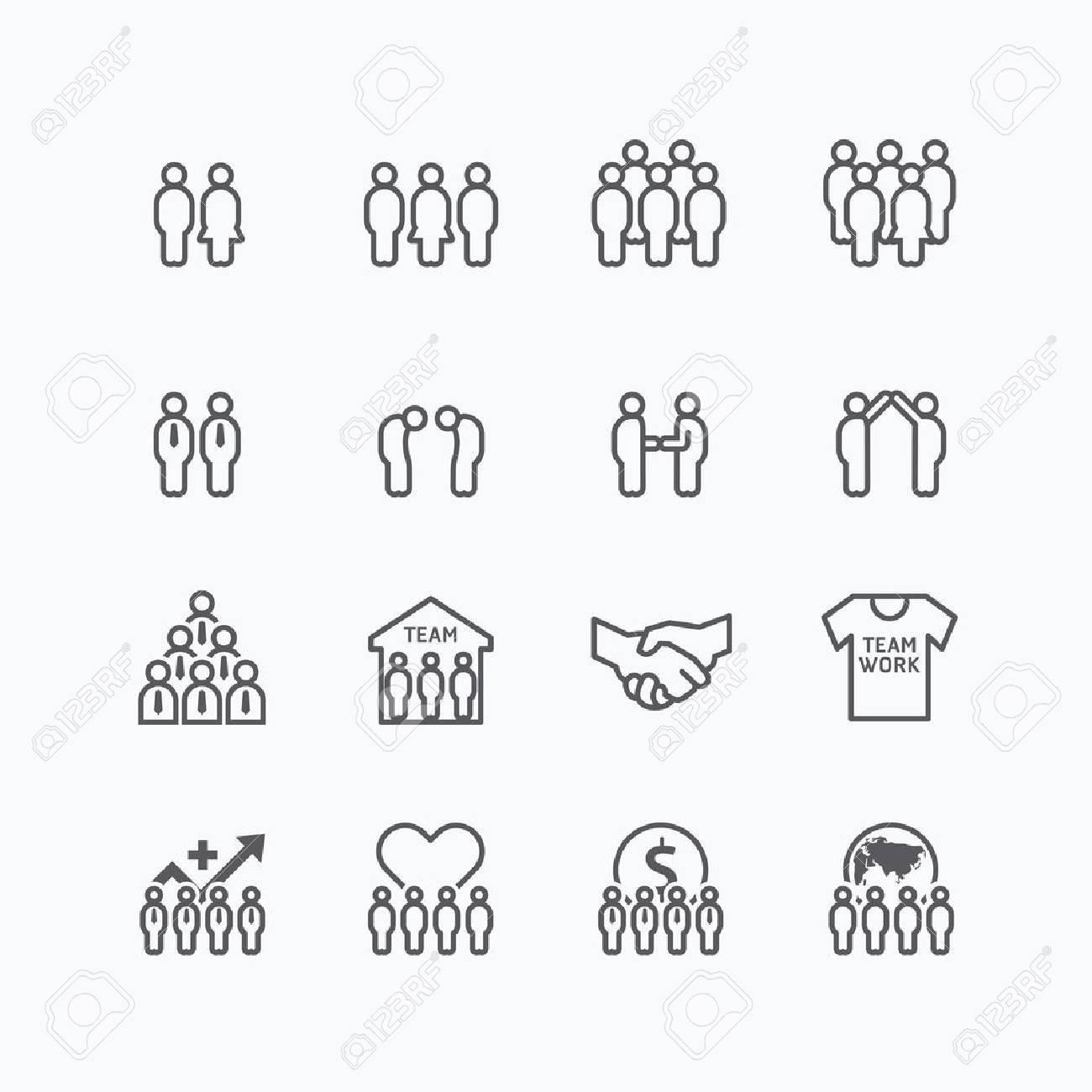 team and business silhouette icons flat line design vector set. teamwork to success concept. Standard-Bild - 43194332
