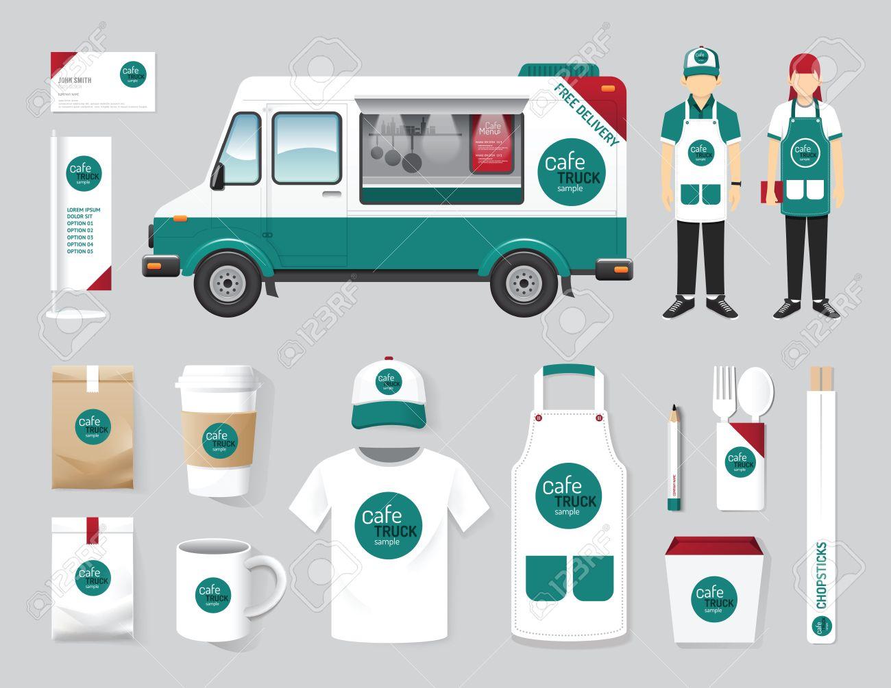 Vector Restaurant Cafe Design Set Street Food Truck Shop Flyer