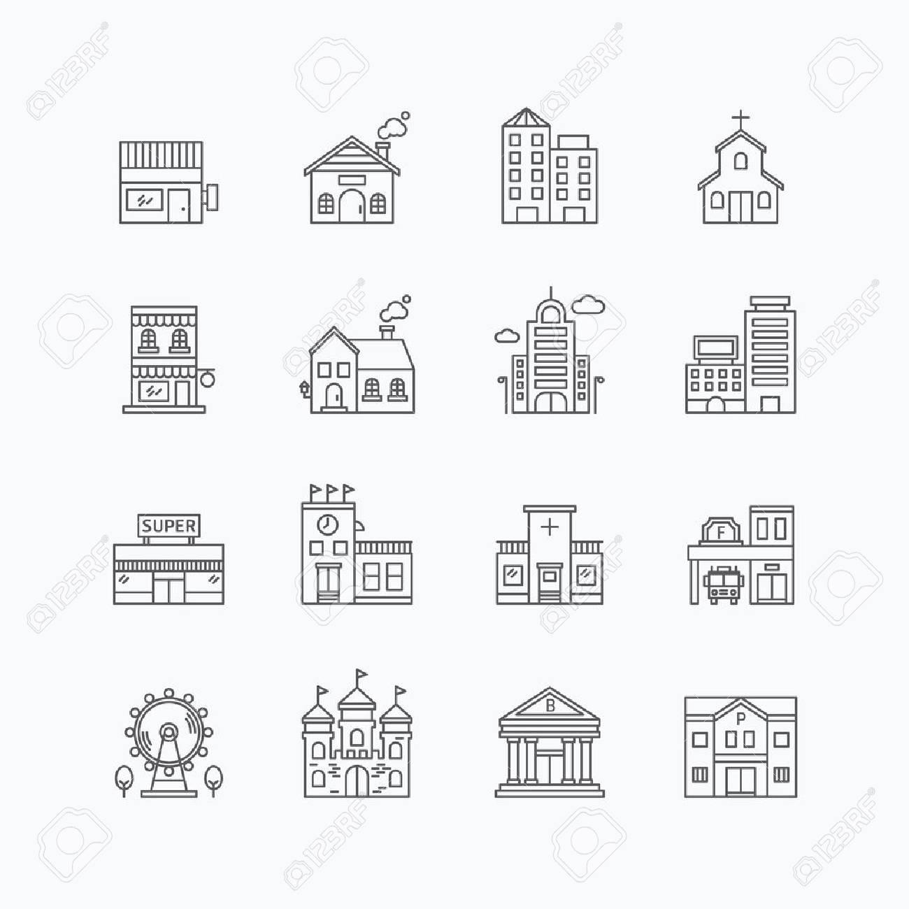 vector linear web icons set - buildings collection of flat line city design elements. Standard-Bild - 43194422