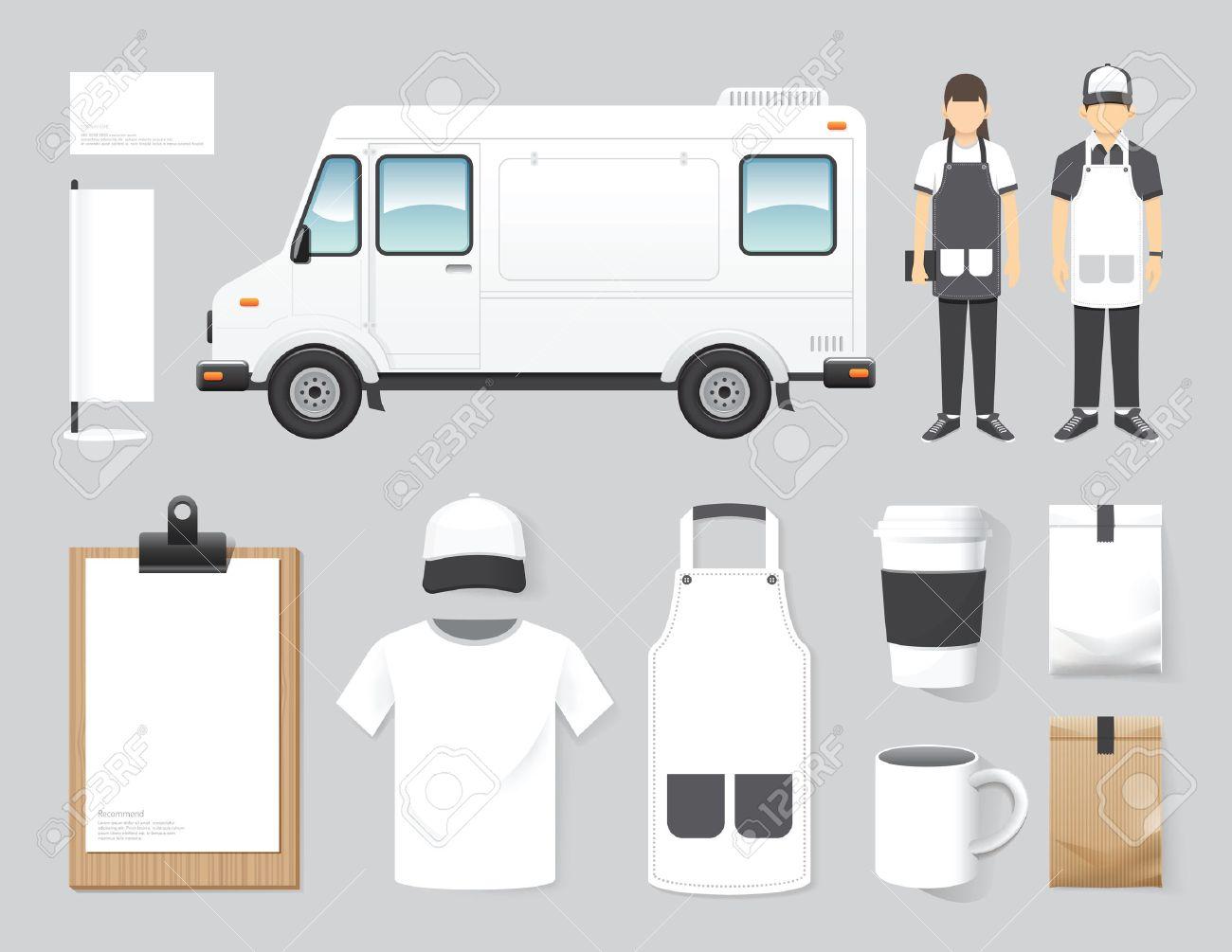 Vector restaurant cafe design set street food truck shop, flyer, menu, package, t-shirt, cap, uniform and display design layout set of corporate identity mock up template. Standard-Bild - 43194423