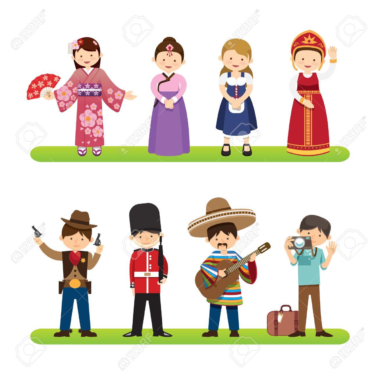 Set of international people isolated on white background. nationalities dress korea, japan, mexico, usa styles. flat design cartoon style. vector Illustration Standard-Bild - 43561173
