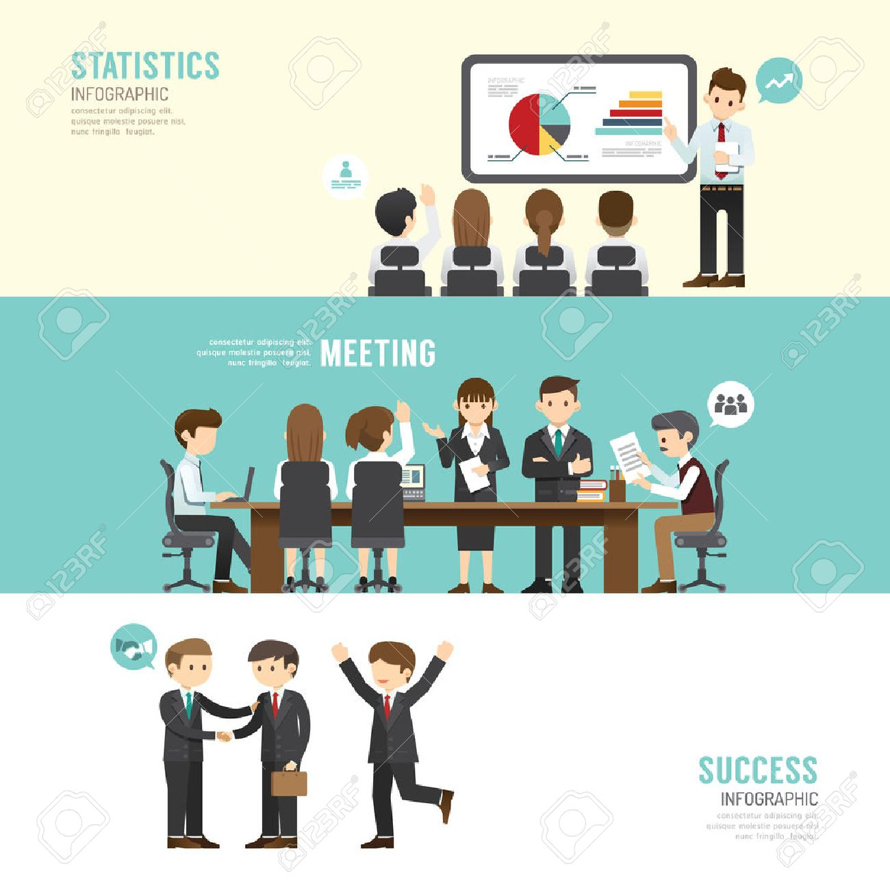 Business design conference concept people set presentation, training, meeting, success, agreement or partnership. with flat icons. vector illustration - 43568355