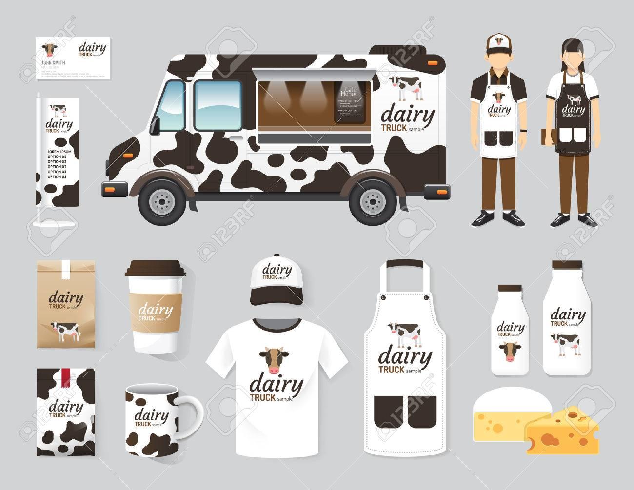 Vector restaurant cafe design set street dairy food truck shop, flyer, menu, package, t-shirt, cap, uniform and display design layout set of corporate identity mock up template. Standard-Bild - 43568360