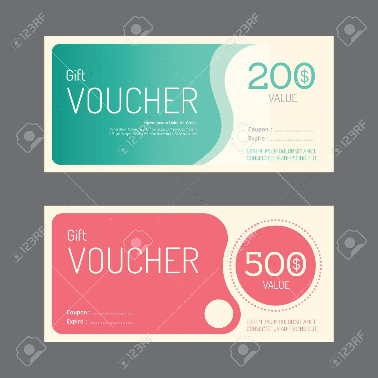 Vector Gift Voucher Coupon Template Design. Paper Label Frame ...