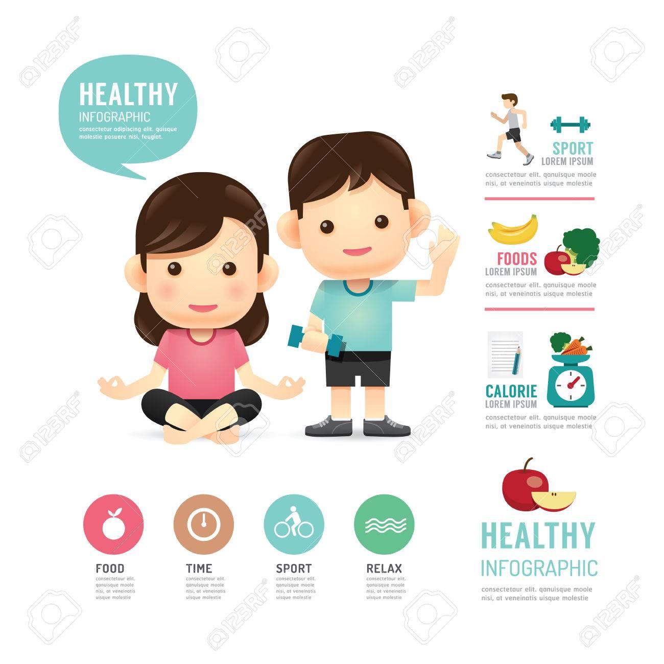 health time food and sport people program design infographic,learn concept vector illustration Standard-Bild - 45736630