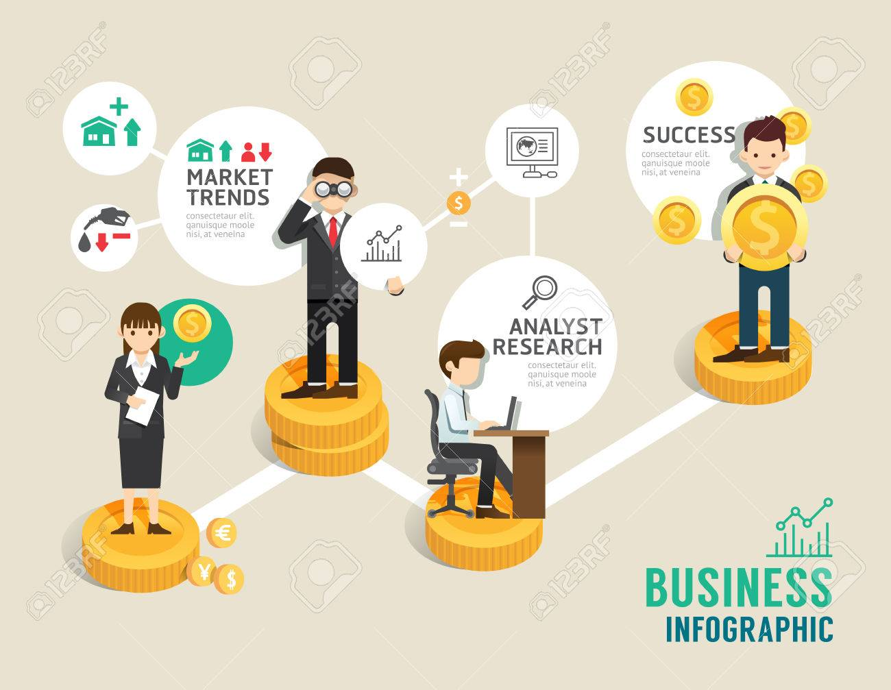Business stock market board game flat line icons concept infographic step to successful, illustration - 51471542