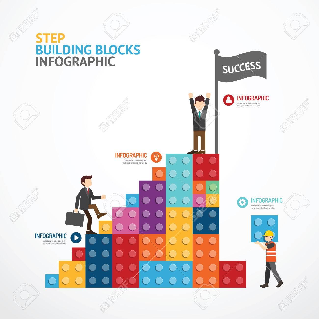 infographic template step building blocks concept illustration