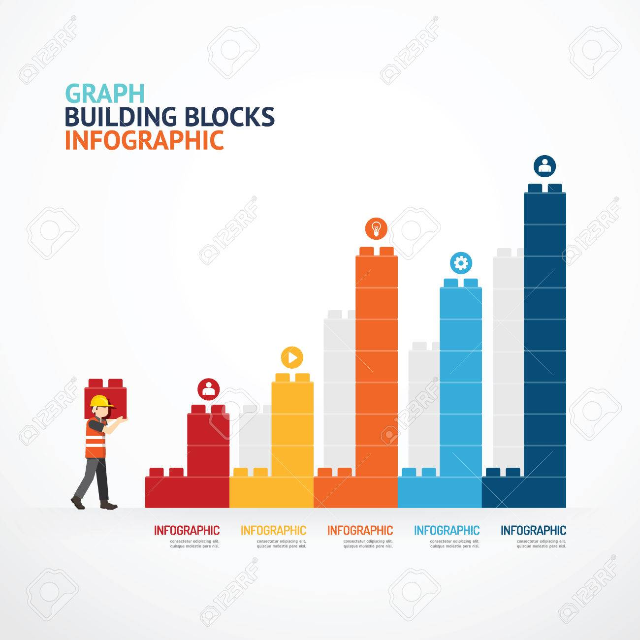 infographic template with building blocks graph concept