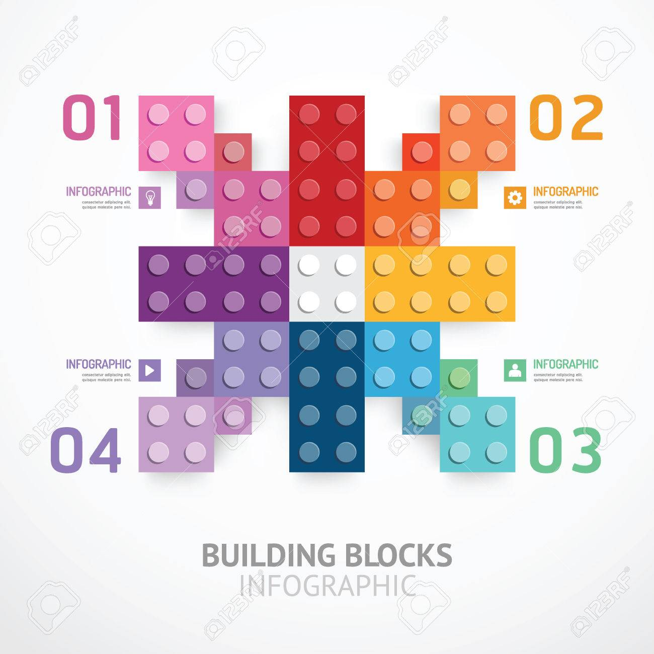 infographic color building blocks banner template royalty free